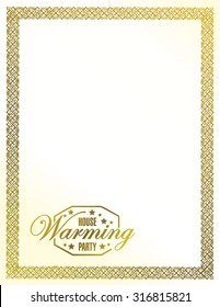 https www shutterstock com image vector house warming party gold frame background 316815821