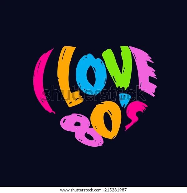 Download Love 80s Heart Wordslogo Vintage Style Stock Vector ...