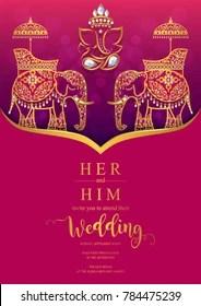 https www shutterstock com image vector indian wedding invitation card templates gold 784475239