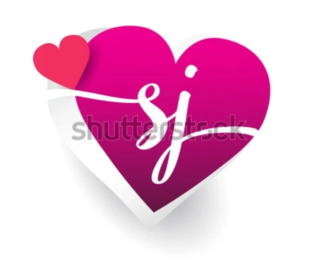 Initial Logo Letter Sj With Heart Shape Red Colored Logo Design For Wedding Invitation