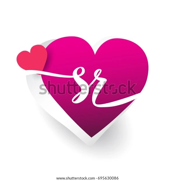 Initial Logo Letter Sr Heart Shape Stock Vector Royalty