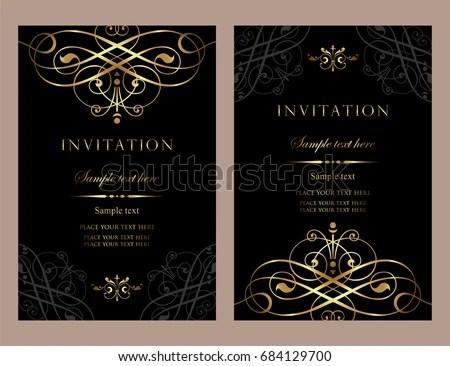 Invitation Card Design Luxury Black Gold Stock Vector Royalty Free 684129700 Shutterstock