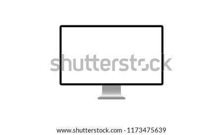 Isolated Computer Screen Mockup On White Stock Vector Royalty Free