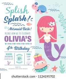 https www shutterstock com image vector kids birthday party invitation card cute 1124195702