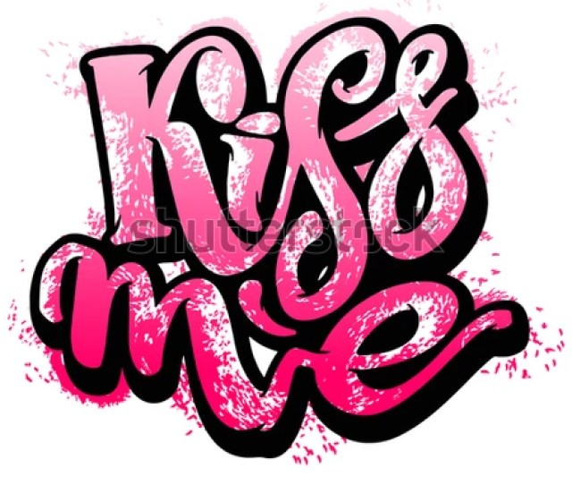 Kiss Me Love Lettering Motivation Poster Ink Artistic Modern Brush Calligraphy Print Handdrawn