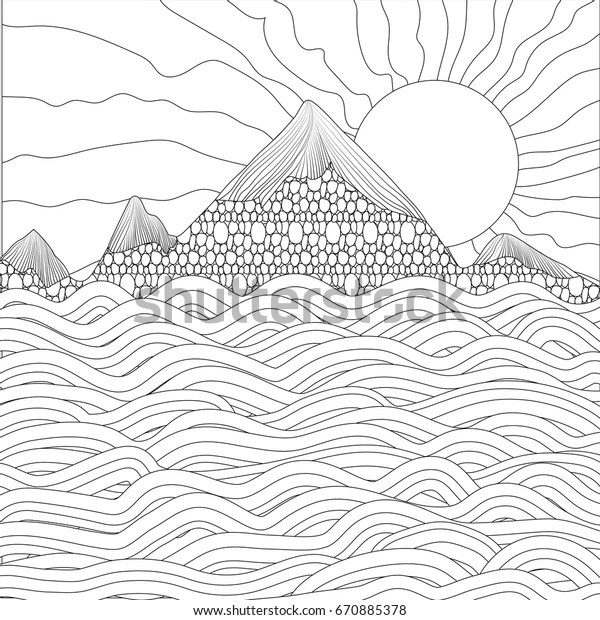 https www shutterstock com fr image vector landscape sea mountains sun on white 670885378