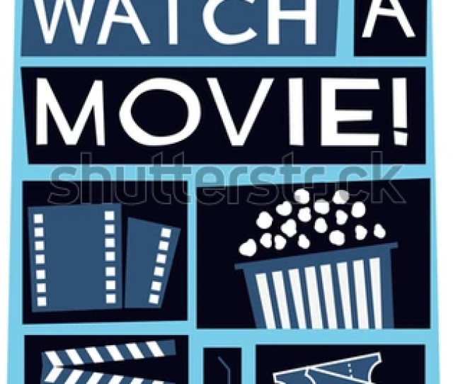 Lets Watch A Movie Film Poster Vector Illustration