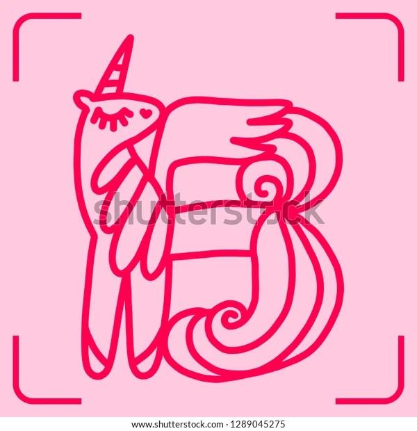 Letter B Unicorn Written By Unicorns Stock Vector Royalty Free 1289045275