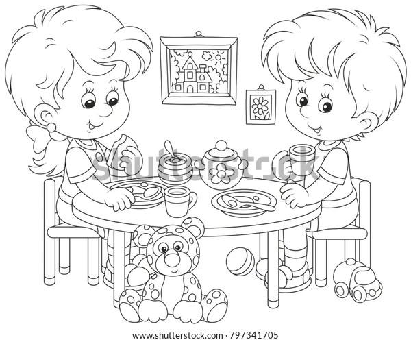 https www shutterstock com fr image vector little children breakfast their nursery black 797341705