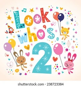 https www shutterstock com image vector look whos two second birthday card 238723384