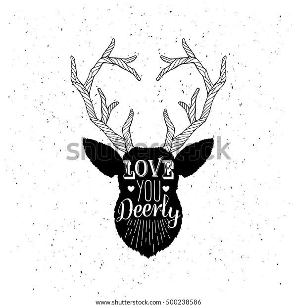 Download Love You Deerly Monochrome Deer Head Stock Vector (Royalty ...