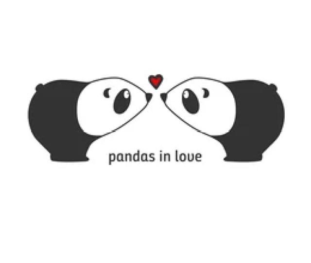 Lovers Pandas Kiss Sticker Decor For Wedding Invitation
