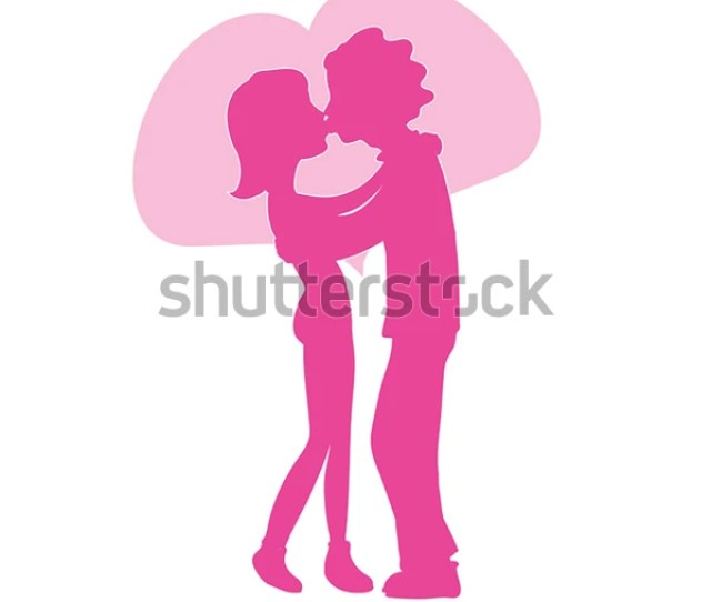 Lovers Vector Silhouette Romantic Couple Love Stock Vector