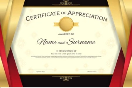 Certificate Of Appreciation Images  Stock Photos   Vectors     Luxury certificate template with elegant red and golden border frame  on  Thai background  Diploma