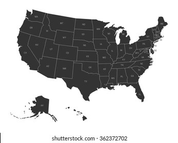 United States Map Images  Stock Photos   Vectors   Shutterstock Map of USA with state abbreviations