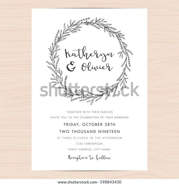 https www shutterstock com image vector modern black white wedding invitation card 598843430