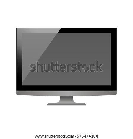 Monitor Template Personal Computer Monitor Mockup Stock Vector