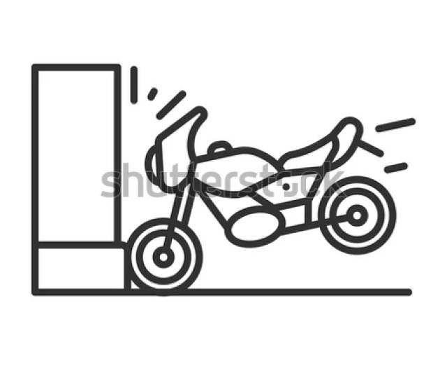 The Motorcycle Hits The Wall A Road Accident