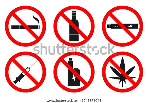 No Smoking No Vaping No Drugs Stock Vector Royalty Free 1243876045