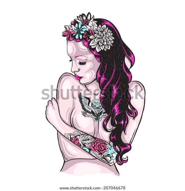 Old School Tattoos Flower Tattoo Design Stock Vector Royalty Free 207046678