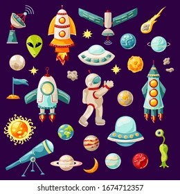 https www shutterstock com image vector outer space set rockets planets astronaut 1674712357