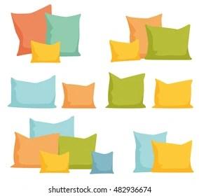 https www shutterstock com image vector pillows set comfortable bed cushion pillow 482936674