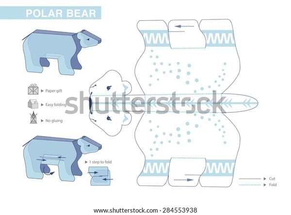 Polar Bear Paper Model Cutouts Children Stock Vector Royalty Free 284553938