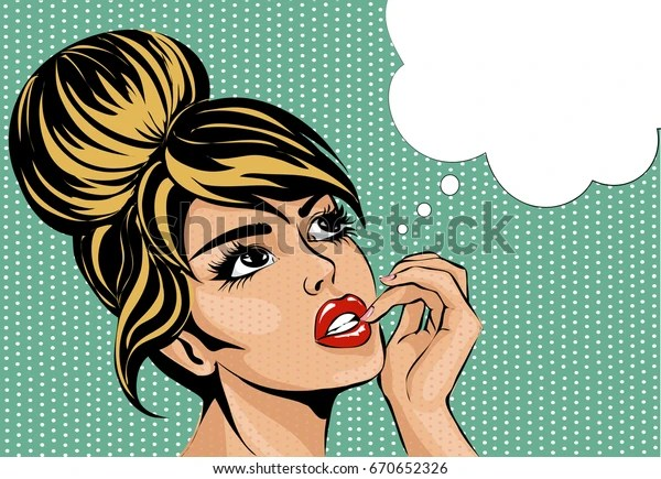 Pop art vintage comic style woman with open eyes dreaming, female portrait with speech bubble vector illustration