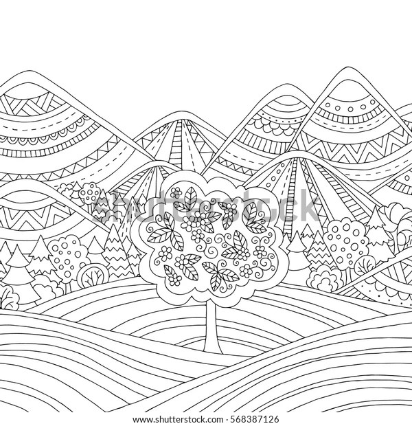 coloring pages printable mountains and trees # 9