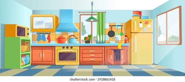 https www shutterstock com image vector retro colored kitchen interior fridge stove 1918861418