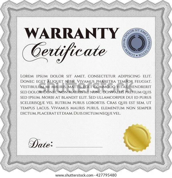Sample Warranty Certificate Complex Linear Background 스톡 벡터(로열티 프리) 427795480