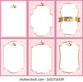 https www shutterstock com image vector set cute princess pink templates invitations 1632716539