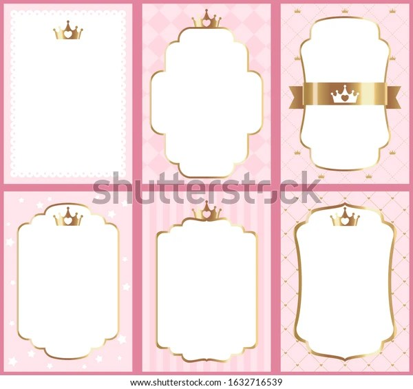 https www shutterstock com image vector set cute princess pink templates invitations 1632716539