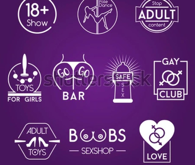 Sex Adult Xxx Badges White Vector Logos Set