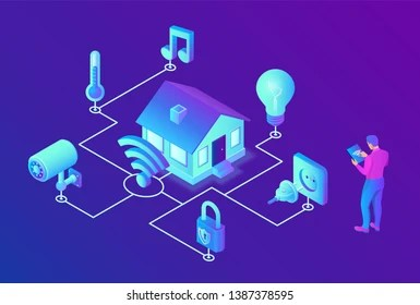 Smart Home System Concept 3d Isometric Stock Vector Royalty Free 1387378595