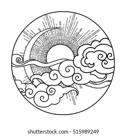 sun and moon coloring pages # 3