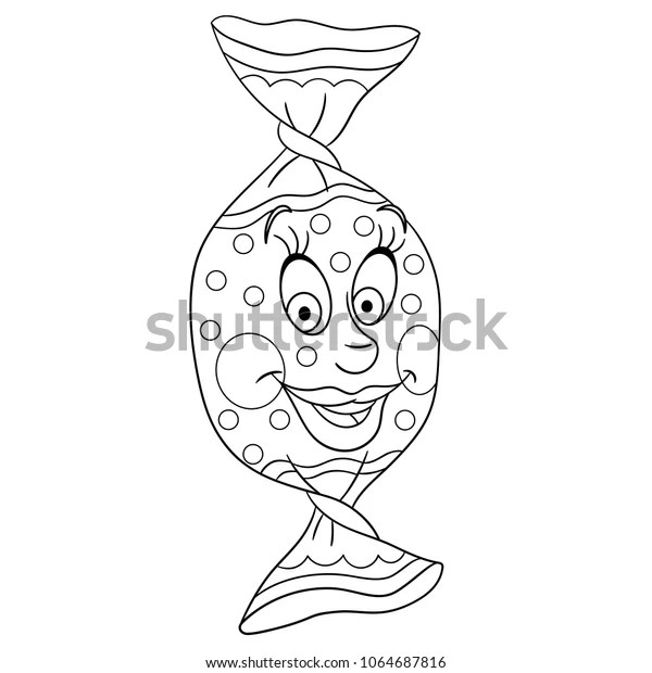 Sweet Candy Coloring Page Happy Pastry Stock Vector Royalty Free 1064687816