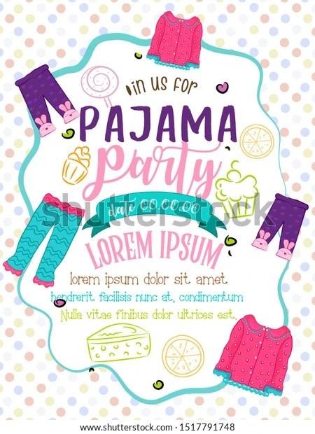 https www shutterstock com image vector template design pajama party invitation card 1517791748