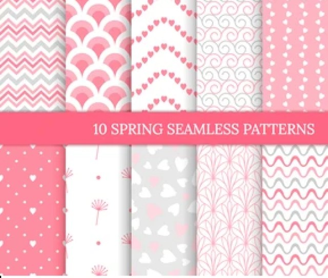Ten Different Spring Seamless Patterns Romantic Pink Backgrounds For Valentines Or Wedding Day Endless