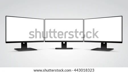 Three Computer Monitors Mockup White Blank Stock Vector Royalty