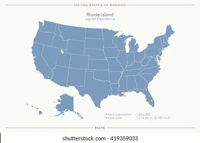 It includes national wildlife refuges, military bases, and federal lands. United States America Isolated Map Rhode Stock Vector Royalty Free 419359033