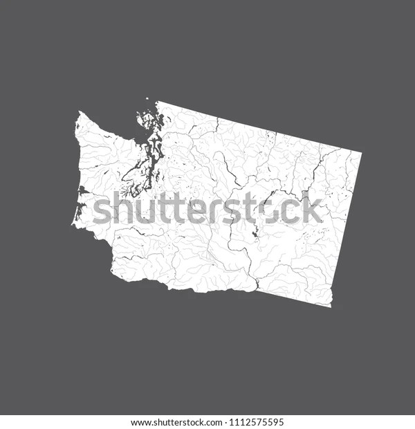 Map of major united states rivers. Us States Map Washington Rivers Lakes Stock Vector Royalty Free 1112575595