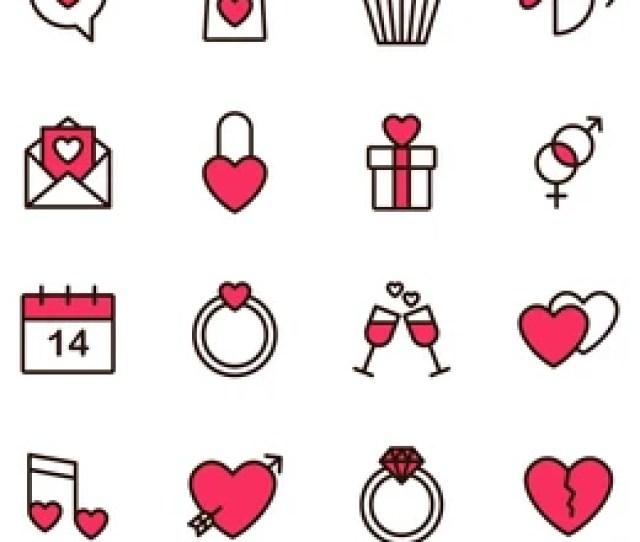 Valentine Icon Set Happy Valentine Day Related Icon In White Background