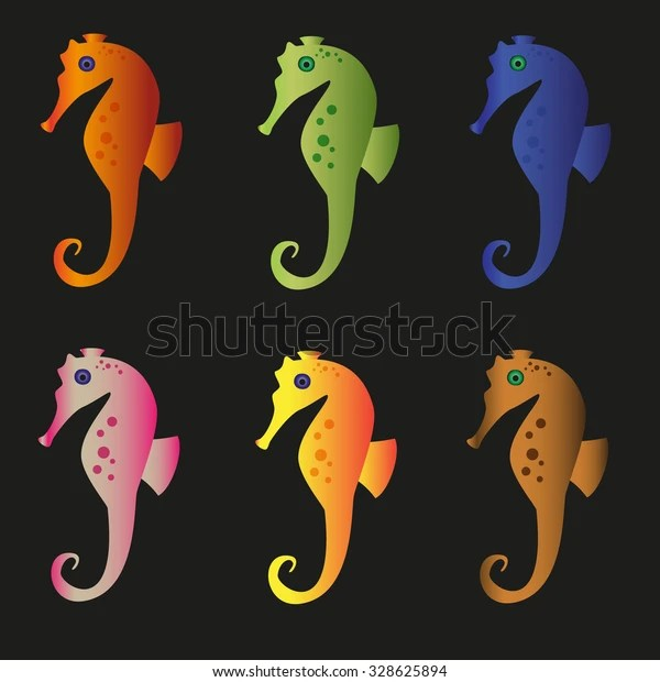 Various Color Seahorses Icons Set On Stock Vector Royalty Free 328625894