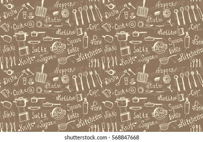 Kitchen Wallpaper Images  Stock Photos   Vectors   Shutterstock Vector hand drawn seamless background kitchen utensils and crockery  fork   knife  spoon