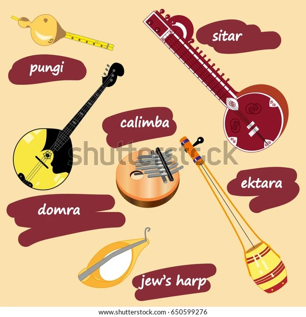 Vector Illustration Collection Ethnic Musical Instruments Stock Vector Royalty Free 650599276