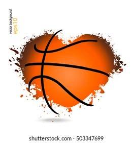 Download I Love Basketball Text with Heart Shaped Basketball Ball ...