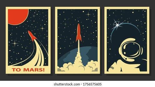 https www shutterstock com image vector vector space posters stylized under old 1756575605