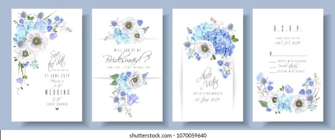 https www shutterstock com image vector vector wedding invitation set blue hydrangea 1070059640