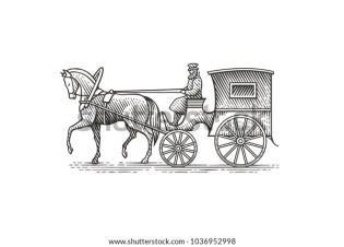 Vintage cab. Hand drawn engraving style illustration.